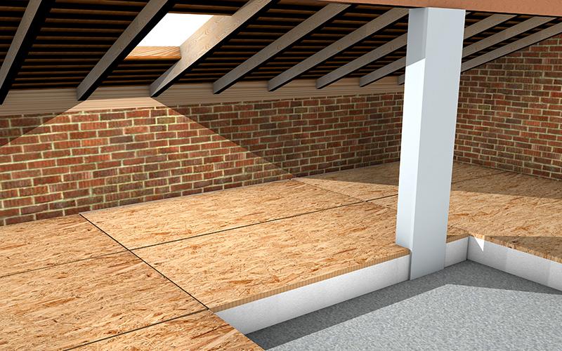 isolamento sottotetto solaio calpestabile con pannelli in polistirolo e osb