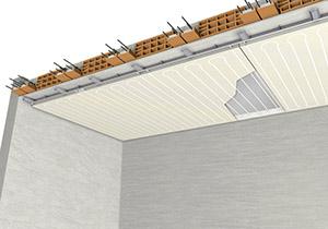 Isolamento interno su soffitto riscaldato e raffrescato